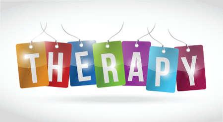 terapia psicologica: tag terapia post ilustración diseño sobre un fondo blanco