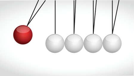 bol ballen raken elkaar illustratie ontwerp op een witte achtergrond Stock Illustratie