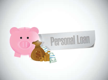personal loan paper sign illustration design over a white background