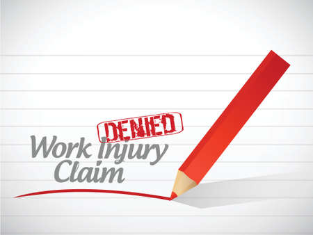 to sue: work injury claim denied illustration design over a white background Illustration