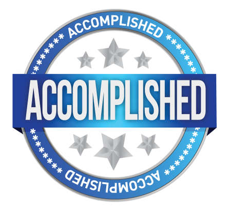 accomplishments: accomplished seal stamp illustration design over a white background