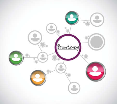 brain storming: brainstorming network diagram illustration design over a white background