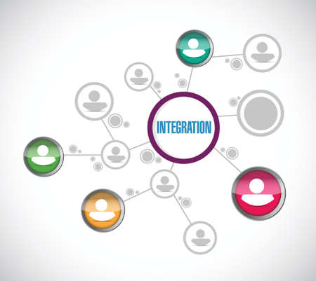 integrated: integration avatar network illustration design over a white background
