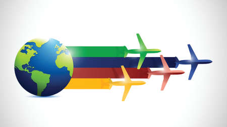 global air travel illustration design over a white background