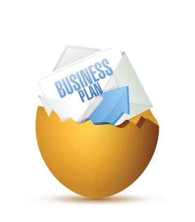 Business plan all'interno di un uovo rotto. design illustrazione su uno sfondo bianco Archivio Fotografico - 30912146
