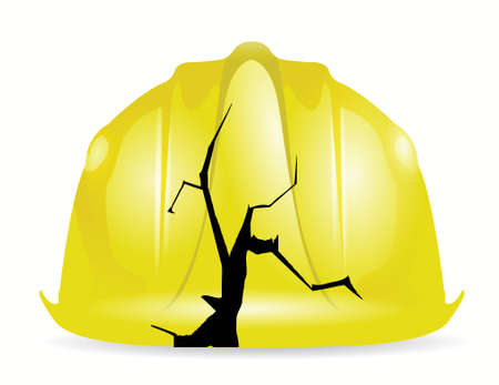 head injury: broken yellow construction helmet illustration design over a white background