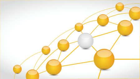 enlace de conexión esfera ilustración, diseño de red tecnología sobre un fondo blanco