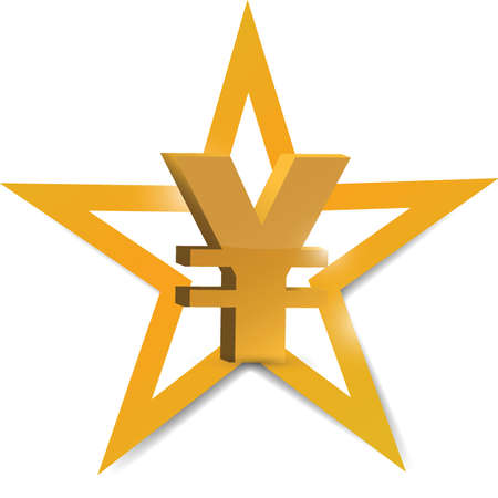 yen sign: gold yen symbol illustration design over a white background