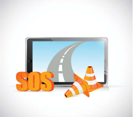 laptop repair: sos tablet road highway illustration design over a white background