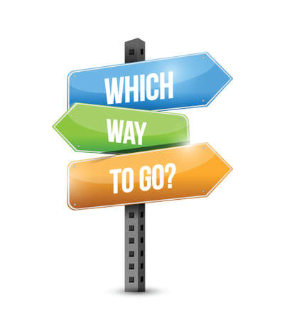 which: which way to go sign illustration design over a white background