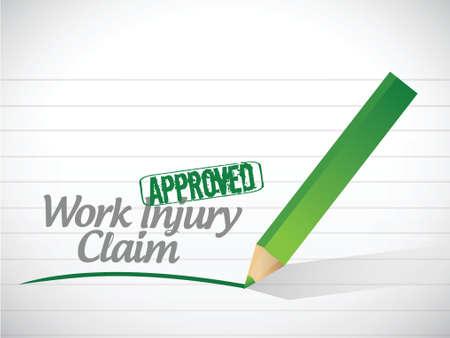 Arbeitsunfall Anspruch genehmigt, Illustration, Design über einem weißen Hintergrund
