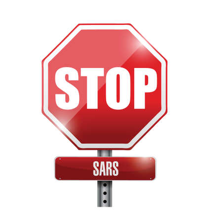 sars: stop sars sign illustration design over a white background