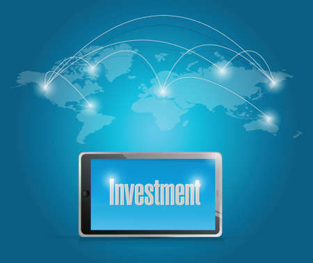 tech investment around the globe. illustration design over a blue background