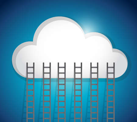 cloud and ladders illustration design over an blue background illustration