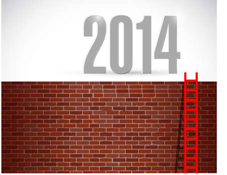 ladder to year 2014. illustration design over a brick wall background