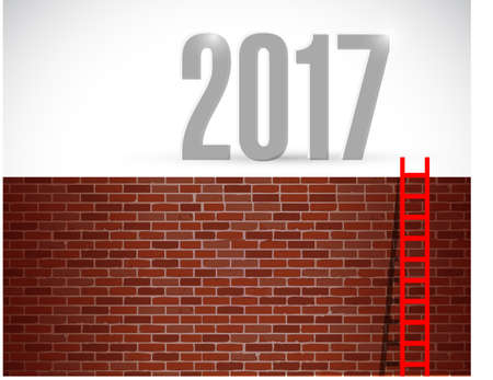 good spirits: ladder to year 2017. illustration design over a brick wall background Stock Photo