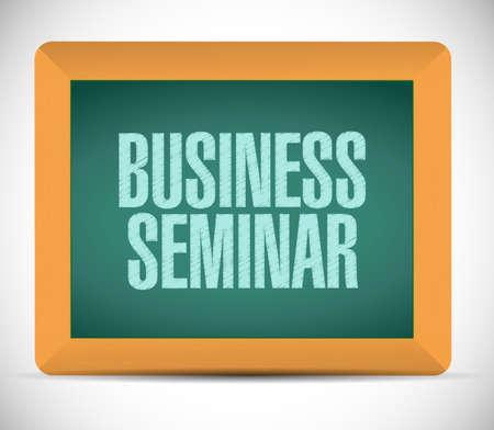 business seminar sign illustration design over a white background illustration