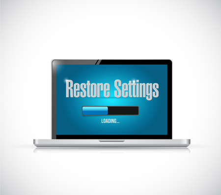 restore: computer restore settings bar illustration design over a white background