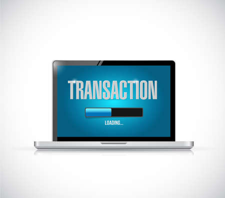 mobile banking: transaction loading bar on a laptop illustration design over a white background Stock Photo