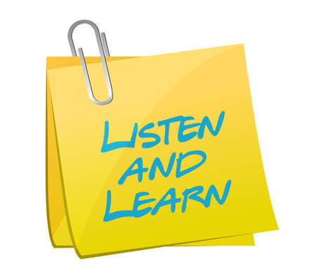 listen and learn post post book illustration design over a white background Stock Photo