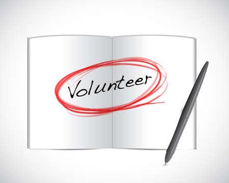 volunteer book illustration design over a white background