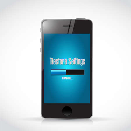 restore: phone restore settings bar illustration design over a white background