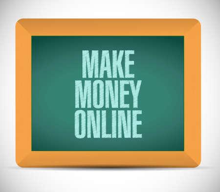 make money online message illustration design over a white background illustration