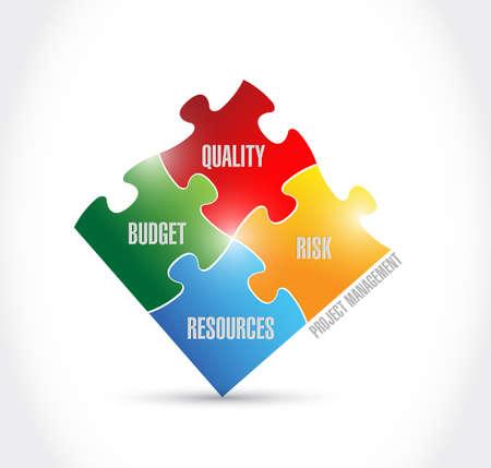 process management puzzle illustration design over a white background Stock Illustration - 30912324