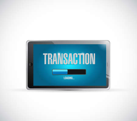electronic transaction: transaction loading bar on a tablet illustration design over a white background