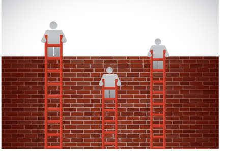 proble: people climbing a brick wall with ladders illustration design over a white background Stock Photo