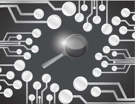 circuit board and magnify glass illustration design over a black background illustration