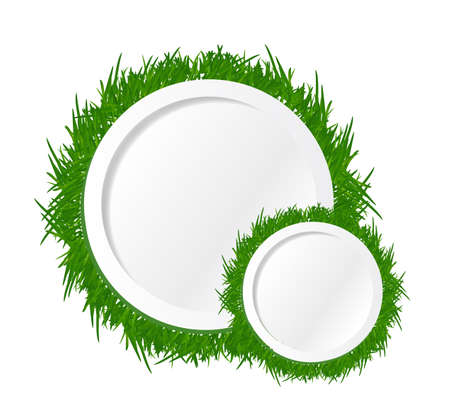 grass and circles text spaces. illustration design over a white background illustration