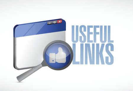 useful links browser illustration design over a white background
