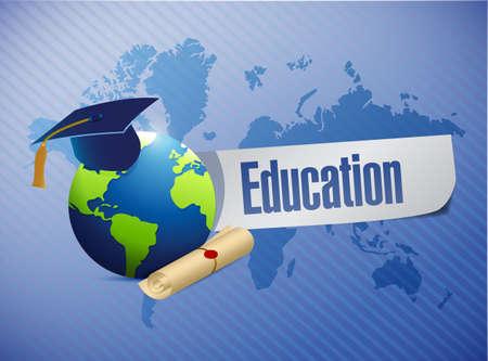 onderwijs: onderwijs concept illustratie ontwerp op een blauwe achtergrond Stockfoto