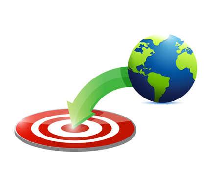 globe to target illustration design over a white background