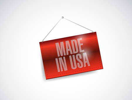 made in usa hanging banner illustration design over a white background