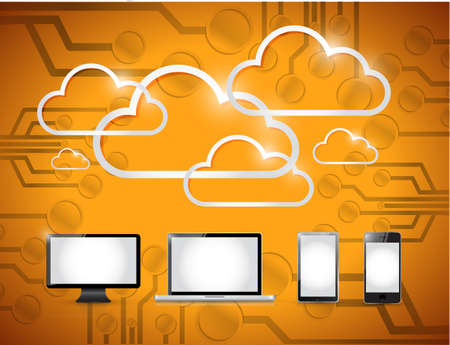 electronic board: electronics and clouds computing illustration design over a orange background