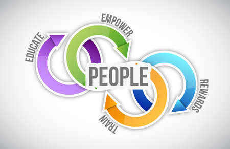governance: people cycle model and internet road illustration design over a white background Stock Photo