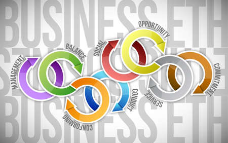 conflictos sociales: diagrama del ciclo de la ética empresarial, ilustración, diseño sobre un fondo blanco Foto de archivo