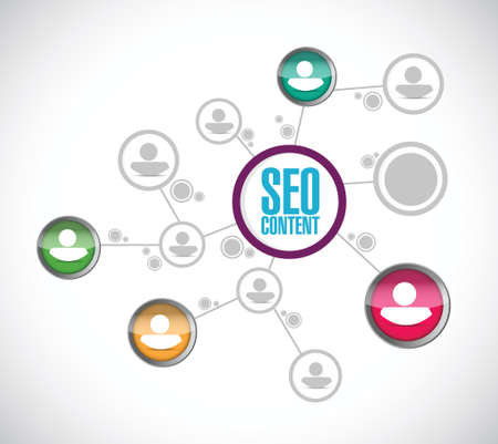 seo content network communication illustration design over a white background Vector