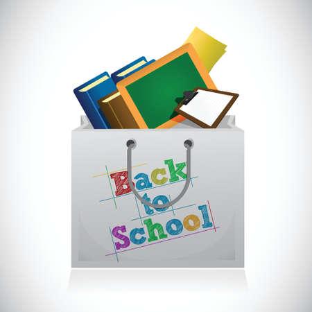back to school shopping bag illustration design over a white background Иллюстрация
