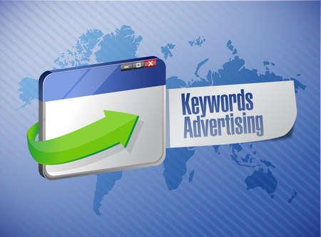keyword advertising browser sign illustration design over a world map background illustration