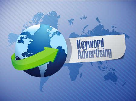keyword advertising globe sign illustration design over a world map background illustration