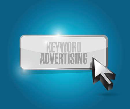 web site design: keyword advertising illustration design over a blue background