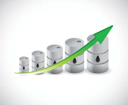 high price of oil: oil barrel graph illustration design over a white background