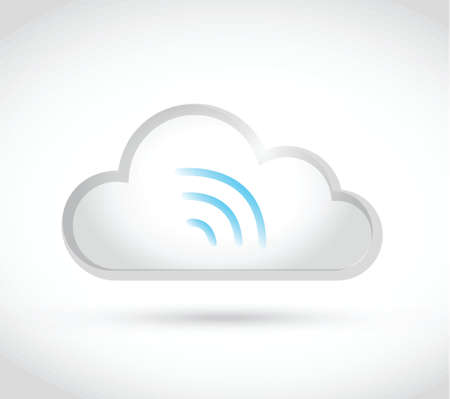 white cloud computing wifi illustration design over a white background Vector