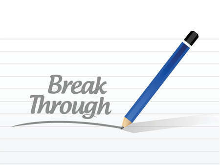 overcome: break through message illustration design over a white background Illustration