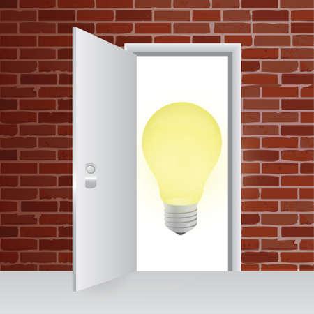 Ideas Behind A Door. Illustration Design Over A Brick Wall ...