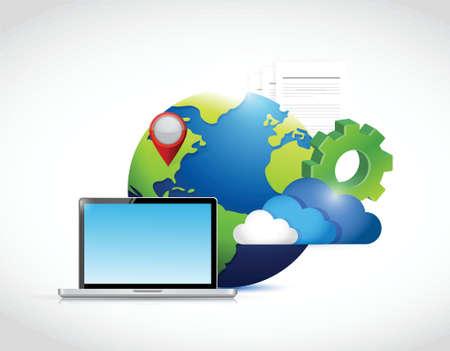 globe laptop gear paper illustration design over a white background Vector