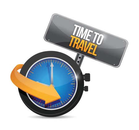 tijd om concept illustratie ontwerp reizen over een witte achtergrond Stock Illustratie